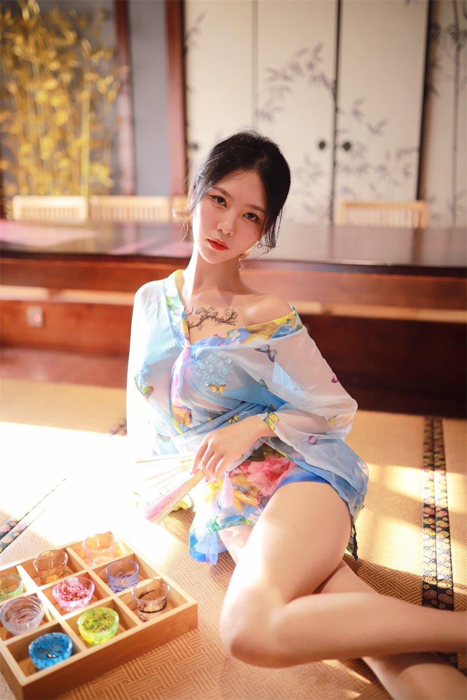 微博人气Coser@抖娘-利世 水蓝和服 [30P] -第1张